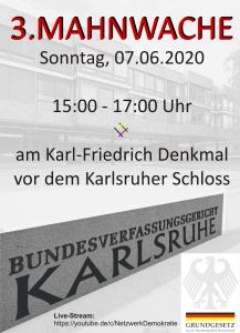 Livestream 3. Mahnwache Karlsruhe, ab 15 Uhr