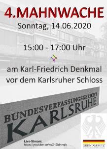 LIVESTREAM 4. Mahnwache Karlsruhe Schlossplatz | ab 14:50 Uhr