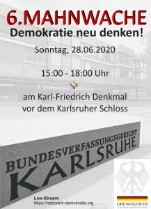 Live-Stream 6. Mahnwache Karlsruhe, ab 15 Uhr